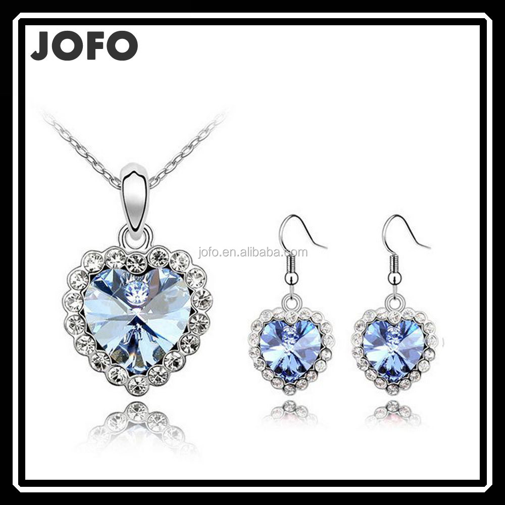 2015 New Arrival Silver Plated Crystal Blue Heart Shape Fashion Costume Jewelry <strong>Sets</strong> for Women Necklace Earrings <strong>Sets</strong> SYJ0144