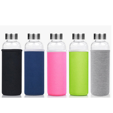 18oz Borosilicate Glass water Bottle with Carrying Loops and Jacket