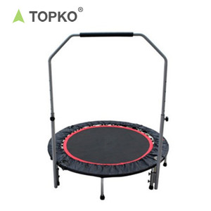 TOPKO Professional High Quality Indoor Entertainment Equipment Fitness Adult Trampoline With Handle bar