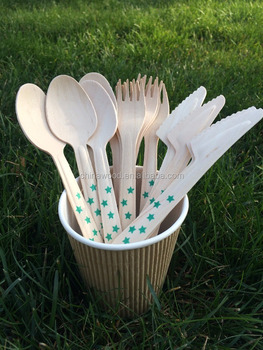Multicolor printed Birch Disposable Wooden Tableware Fork Spoon Knife