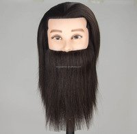 Factory wholesale beard male training mannequin head 100% human hair for salon hairdressing