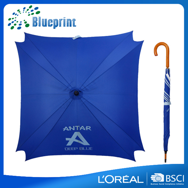 Unique 8 ribs high quality wooden printed stick square umbrella