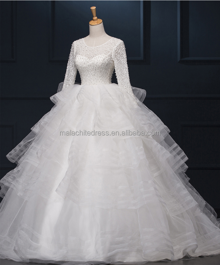 Ball Gown Scoop Neckline 1/2 Sleeves, Half Sleeves Wedding Dress