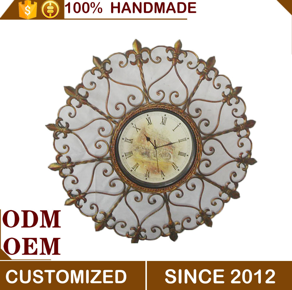 2016 year Hot selling antique metal art wall clock