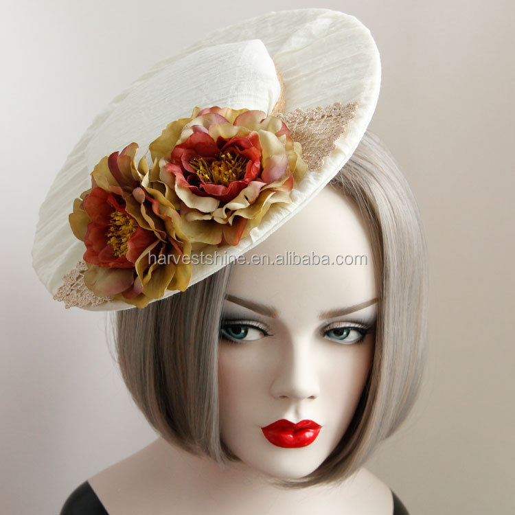 Big Fabric Flower Ladies Hat,Beach Felt Hat with Clips