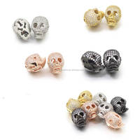 Hot Fashion Skull Bead,cz pave metal spacer crystal skeleton rose gold jewelry beads