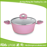 Bright color induction bottom metal pot with ceramic coating