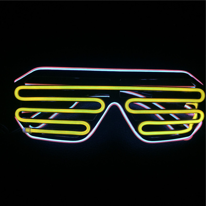 High brightness flashing light up el equalizer glasses