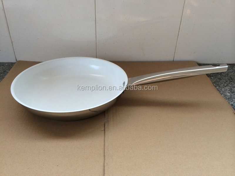 24x4.5cm stainless steel frying pan with white ceramic coating with hollow handle