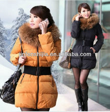 Fashion women fur hooded jacket with belt,warm down jacket