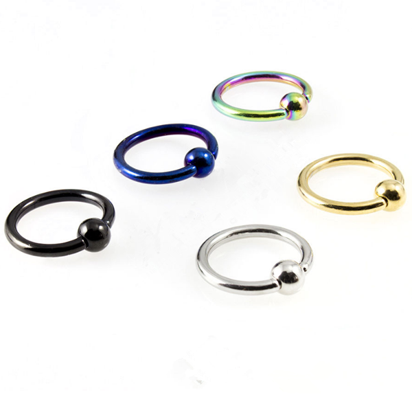 Latest nose ring design stainless steel 0.8mm ball closure ring wholesale