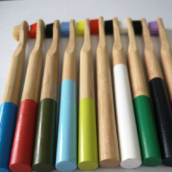 Accept custom natural <strong>bamboo</strong> round colorful handle soft nylon bristles