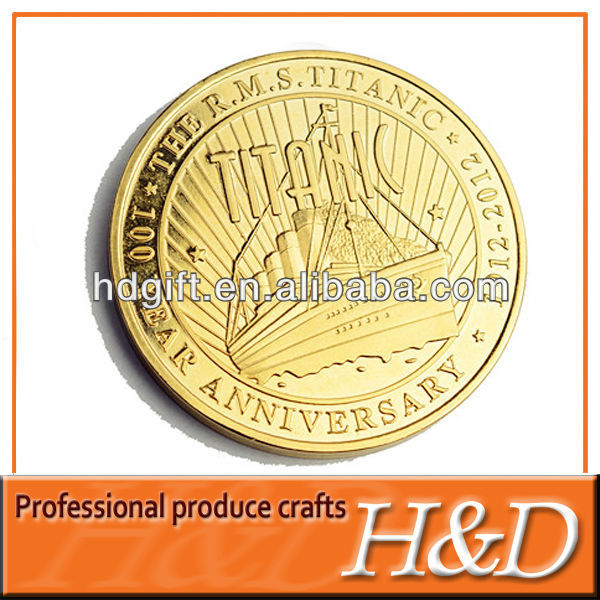 Foreign Style Plated custom metal souvenir coins with sailing boat logo