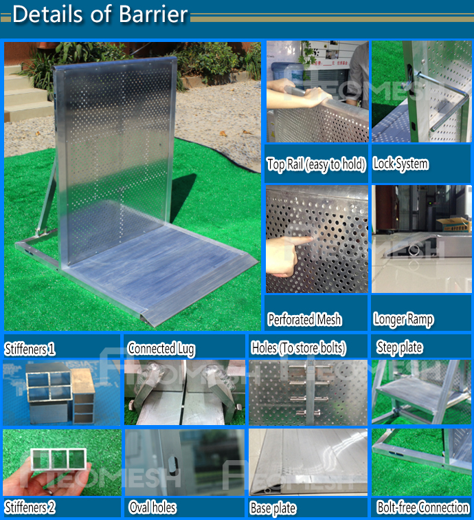 New Aluminium Mojo Barrier,Crowd control stage crowd barrier,used road barrier