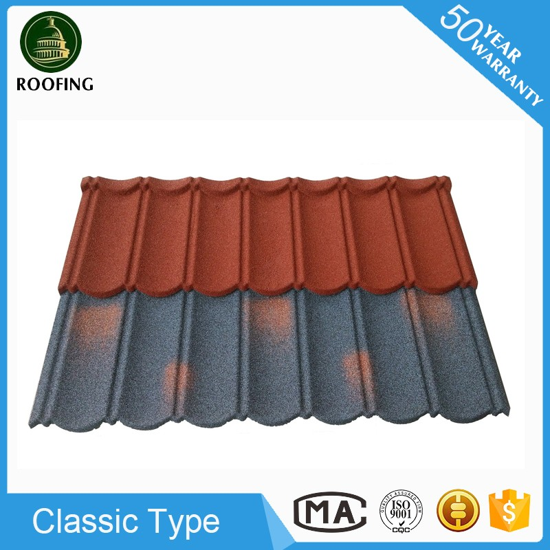 Professional Classic building material,chinese stone chip coated steel roof tile with low price
