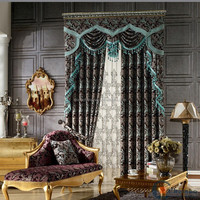 High-end brand name leaf pattern coloful jute curtain