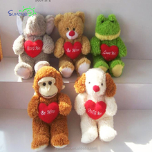 Best selling valentine's day red heart monkey/ teddy bear/dog/elephant plush toy