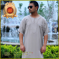 2015 Hot sale Islamic Clothing,short sleeves Long Saudi Arab style thobe robes for men,Arabian robes