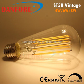 ETL 4W 6W 8W ST58 Vintage light LED Filament bulb light with long chip