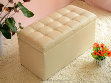 Storage bench with leather covered cube ottoman bench
