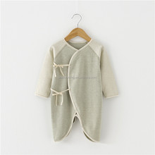Wholesale 100% organic cotton baby clothes newborn romper long sleeves plain blank baby bodysuit