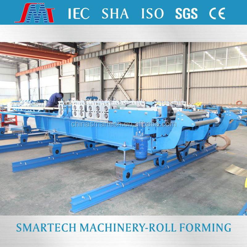 European standard transversely motor conveying sandwich panel siding roll forming machine for two profiles