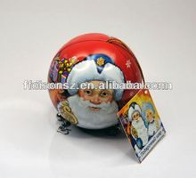 metal tin ball with swing ticket for Christmas gift