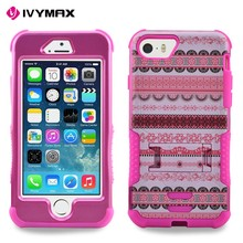 Tire pattern rugged shockproof hybrid case cover for iphone 5s kickstand case
