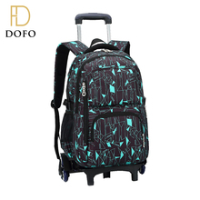 Custom printing lightweight large capacity travel bag trolley backpack with wheels