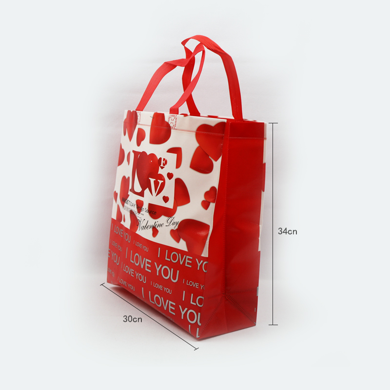 new goods custom love print gift glossy film lamination fabric nonwoven tote bag for shopping