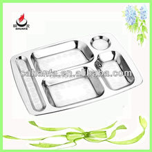 hot sale 5 compartment stainless steel snack plate, snack dish