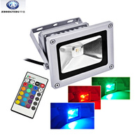 Aluminium 10w 20W 30w 50w IP65 RGB color changing outdoor led flood light with remote control