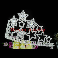"Large Pageant Beauty Contest Party Star Sparkling Crystal Tall 4.5"" (11.5 cm) Tiara Crown Birthday Tiaras for Adults"
