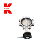 API 509 Lug Flange Cast Ductile Iron Stainless Steel Concentric lever operated Wafer Type Butterfly Valve
