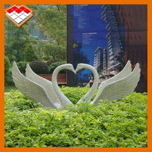 White marble stone carved garden animal statue red crowned crane statue