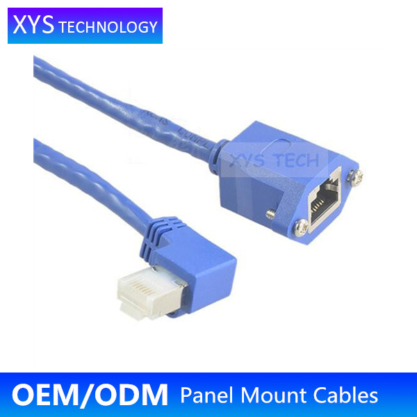 XYS TECH Cat5E Left Angle RJ45 male to RJ45 female Panel Mount Cable/