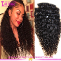 2016 Hot selling!!! 7A virgin brazilian thick end clip in hair extensions for african american