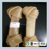 natural rawhide knotted bones for dog chew