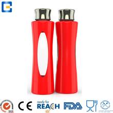 water, milk, juice glass bottle screw cap,bottle sport with stainless steel lid and silicone cover