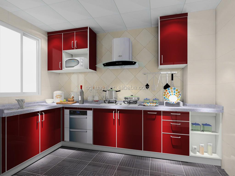 2014 newest aluminium kitchen cabinet model high gloss for Latest kitchen cabinet design