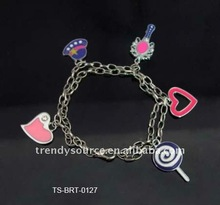 Newest lovely colorful candy beads heart pandent bracelet