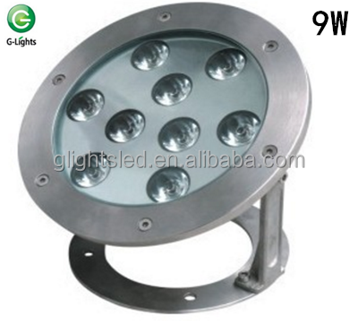 304 stainless steel swimming rgb light high power 9W IP68 led water pool light
