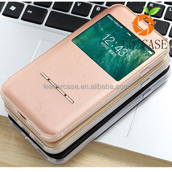 Ultra Thin PU Leather Flip Dual View Window Phone Case For iPhone 7