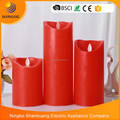 2017 BSCI factory Red pillar candle remote control LED candle light Wax camdle