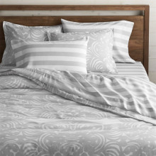 Home Hotel 1cm Sateen Stripe Cheap Cotton Polyester T/C Bedding Sets