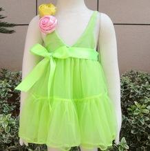 2014 hot baby fashion style kids green dresses with flower