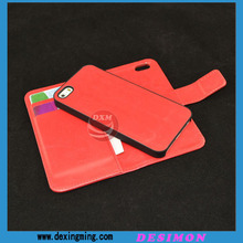 High quality and fashional magnetic detachable wallet leather case for iphone 5 5S