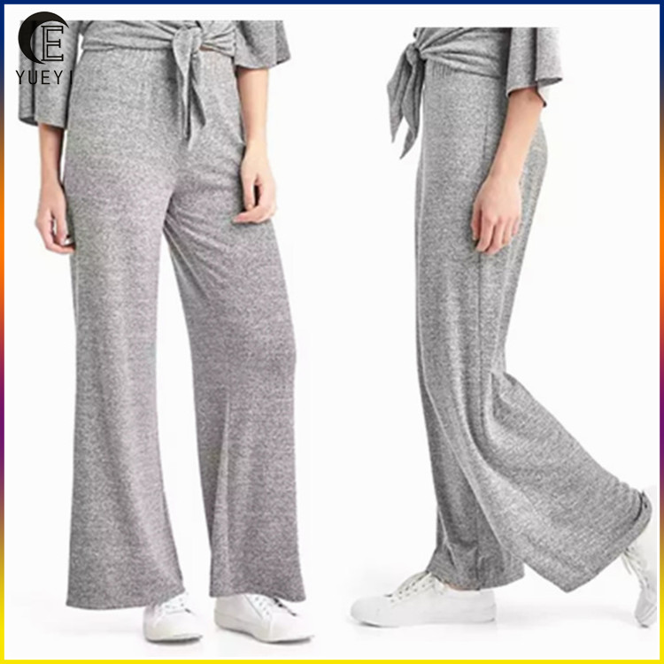 new design fashion women's pants softspun knit wide-leg pants
