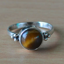 Tiger Eye Silver Ring,natural stone silver ring, engagement Ring And Earring, girls Silver Ring, 2 stone engagement ring, sterli