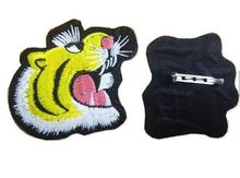 New technique tiger embroidery round pin back patch
